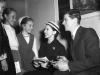 Margot Fonteyn and Michael Somes, Mascot Airport May 1957, girls l-r Helen brecknell, Helen Thibou, and Sonia Humphrey