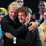 Peter Martins with Paul McCartney, gala premiere for Ocean's Kingdom