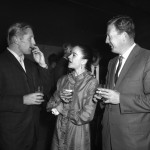 Erik Bruhn (left), Kathy Gorham and unknown guest at a party at the Australian Elizabethan Theatre Trust, Sydney,1962