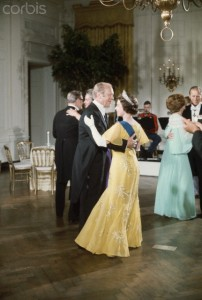 President Ford dancing with Queen Elizabeth