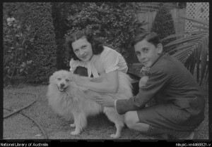 Vera Nemchinova and George Repin with Sharick, the Repin family dog