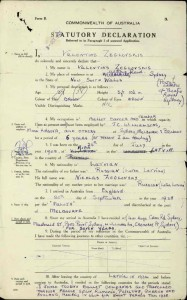 Valentin Zeglovsky's statutory declaration accompanying his application for naturalisation ,1945