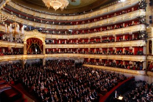 The audience at the gala concert marking the reopening of the Bolshoi Theatre.