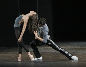 Tiler Peck and Robert Fairchild rehearsing Jerome Robbins' Afternoon of a Faun