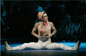 The Bolshoi's production of Neumeier's Dream, Puck, in Helena's bonnet and glasses