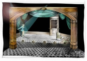 A costume / set drawing from The Story of Mary Maclane by Herself by Bojana Novakovic, directed by Tanya Goldberg, Malthouse Theatre and Ride On Theatre, 2011.