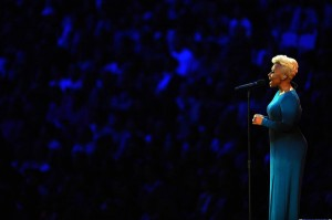 Emeli Sande  sings Abide With Me during the opening ceremony, Photo © Laurence Griffiths/Getty Images