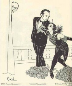 Balanchine and  Toumanova, caricature by Alex Gard