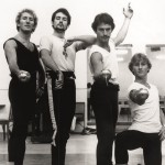 Kelvin Coe, Dale Baker, Paul DeMasson and David Palmer in rehearsal for The Three Musketeers, 1981. Photo  © Herald & Weekly Times Ltd