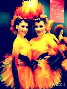 Two dancers from the ensemble, backstage at London 2012 closing ceremony