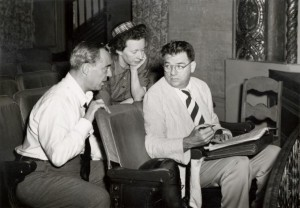 Richard Rodgers, Agnes De Mille,  and Oscar Hammerstein II at rehearsal for Allegro] 1947, photo © Fred Fehl