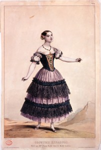 Fanny Elssler in Le Diable boiteux, colour lithograph, about 1836, Victoria & Albert Museum