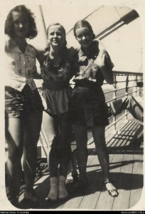 Brigitte Kelly (Maria Sanina), Patricia Meyers (Alexandra Denisova) and Moya Beaver on deck en route to Europe, 1939