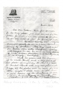 Helene Kirsova's letter to Olive Cotton, Easter 1937, Mitchell Library, State Library of NSW