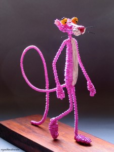 The Pink Panther in wire, designed by by Reynaldo Molina