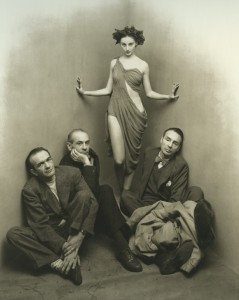 Tanaquil Le Clercq with Corrado Cagli, Vittorio Rieti, and George Balanchine, photo © Irving Penn, 1948