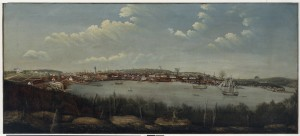 Sydney Cove looking west. Dawes' observatory has the large flag on the right. Artist unknown, State Library of NSW