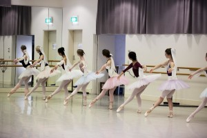 Corps members of the Australian Ballet rehearsing La Bayadere
