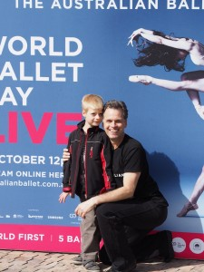 Steven Heathcote with ballet student, Federation Square, Melbourne, World Ballet Day Live