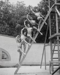 Unidentified group of dancers at Jacob's Pillow, a dance compound in Massachusetts where Baronova worked while she was with the New York-based Ballet Theatre in the early 1940s.