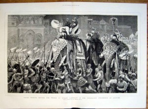 """Dancing before the Prince of Wales' elephant in the torchlight procession at Jeypore"", Graphic magazine, 1876"