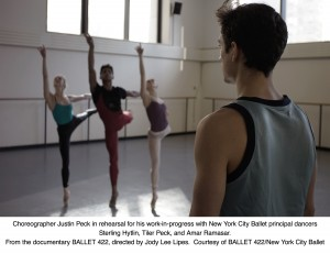 Justin Peck rehearses the New York City Ballet principals, Sterling Hyltin, Tiler Peck and Amar Ramasar for Ballet 422