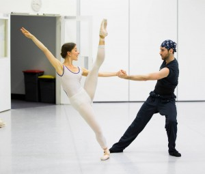 Benedicte Bemet and Daniel Gaudiello rehearsing William Forsythe's In the Middle, Somewhat Elevated, Australian Ballet, photo © Kate Longley