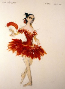 Kitri costume sketch for Act III of Don Quixote, National Ballet of Canada, 1985, designed by Desmond Heeley