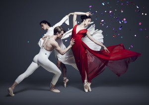 Robyn Hendricks (in red dress) with Christopher Rodgers-Wilson and Vivienne Wong, publicity photo for 2017 Australian Ballet season, photo © Justin Ridler