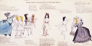 Madame Taglioni's dancing class at 6 Connaught Square, London, drawing by Margaret Rolfe, 1870s, pencil, pen and ink, watercolour and crayon on paper, V&A, London, Cyril W Beaumont Bequest